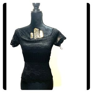 BEBE Lace Black Off the Shoulders Lace Top NWT